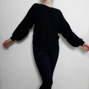Sweaters - Balloon Sleeve Boatneck Black Sweater